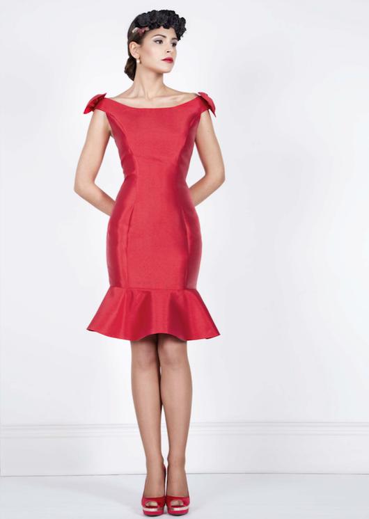 vestido mikado de seda rojo bluma