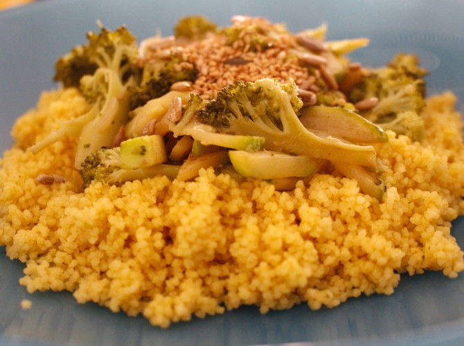 couscous al curry con brocoli
