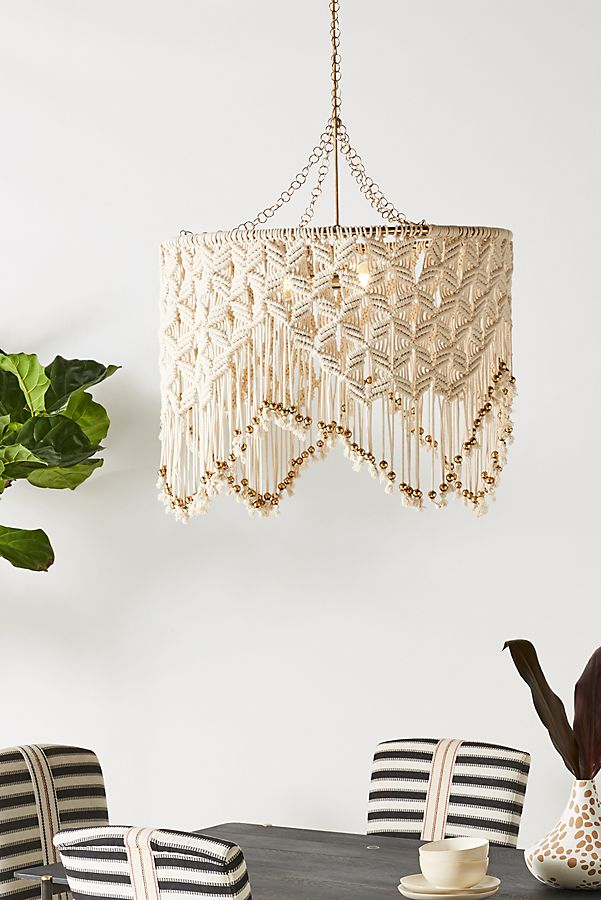 lampara macrame anthropologie