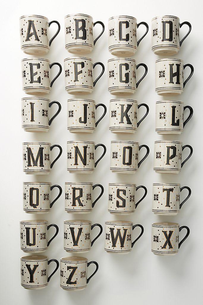 tazas con inicial anthropologie art deco